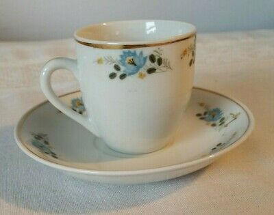 Small Porcelain Cup Saucer Marked Made in China Demitasse Doll Party Blue Flower
