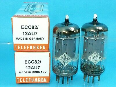 Telefunken 12Au7 Ecc82 Vacuum Tube 1961 Date Matched Pair Smooth Plate Strong