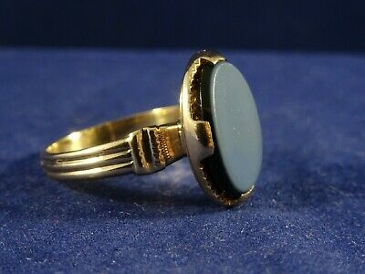 Substantial 18ct Gold French Mens Banded Agate Signet Ring. Size U. French Eagle
