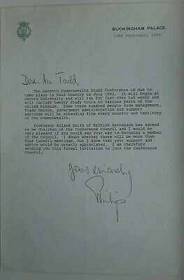 Prince Philip Hand Signed Autograph Buckingham Palace Letter Queen Elizabeth II
