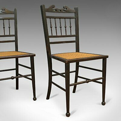 Pair of Antique Chairs, Edwardian, Ebonised, Side, Early 20th Century, C.1910