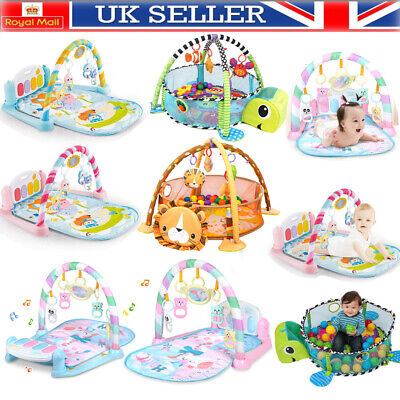 Baby Playmat Gym 3 in1 Activity Turtle Floor Play Mat Ball Pit & Sensory Toys UK