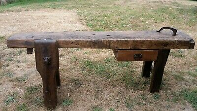 Superb Antique French Oak Country Farmhouse Carpenters Workbench