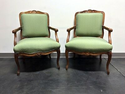 Vintage French Provincial Louis XV Style Bergere Arm Chairs by Sam Moore - Pair