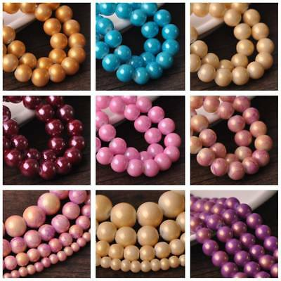 30pcs 10mm Round Spots Coated Opaque Glass Loose Spacer Craft Beads Findings