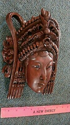 Vintage Chinese Carved Rosewood Lady Woman Princess Mask Wall Art Tribal Wood