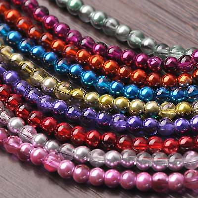 200pcs 4mm Charms Round Half Plated Opaque Crystal Glass Loose Spacer Beads