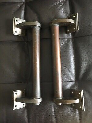 ANTIQUE vintage ART DECO DOOR HANDLES PULLS BRASS FRENCH ORIGINAL heavy MODERNE
