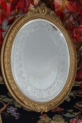 An Antique Gold Framed * Georgian * Greek Key Design Bevelled Glass Wall Mirror