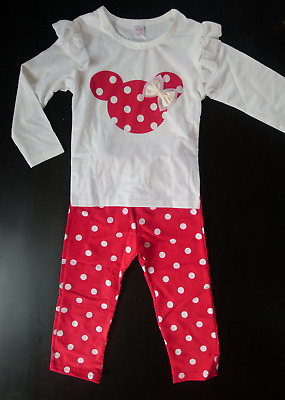 Girls Mini mouse long sleeve top & trousers set 3yrs. (red/white/outfit/cotton)