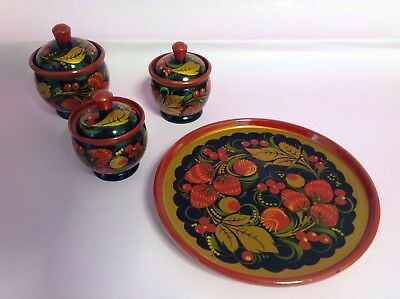 Vintage Russian Khohloma Lacquered Wooden Tray with Lidded Pots Red Berries Gold