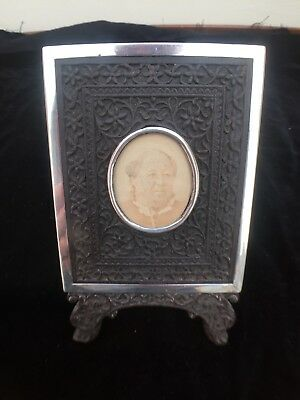 Solid Silver and ebony Victorian picture frame