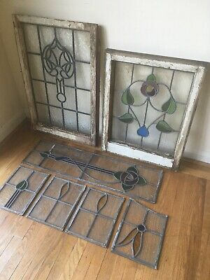 Job Lots Of Vintage Antique Stained Glass Windows 1920/30s