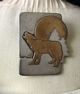 Handmade Silver And Copper Artisan Wolf Pin Signed