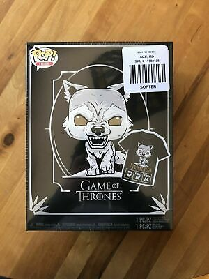 Funko Game Of Thrones Pop! Tees Nymeria T-Shirt & Vinyl Figure Box Set - Medium!