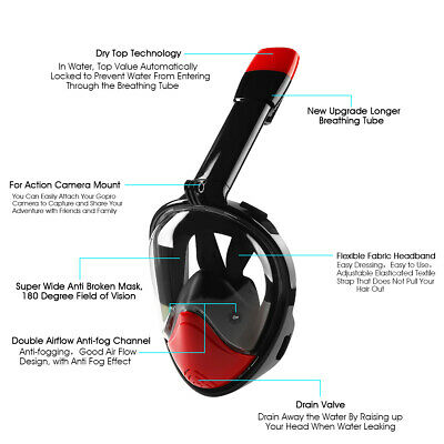 Full Face Snorkel Mask - Foldable Seaview 180° GoPro Free Shipping!