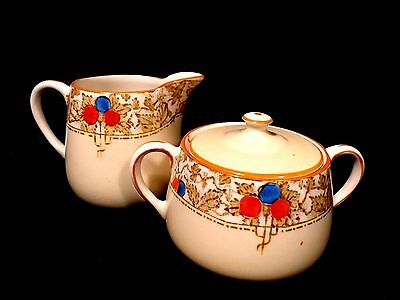 James Kent Sugar Bowl Set Creamer VGUC Art Deco FLORENTINE Vintage Old Foley