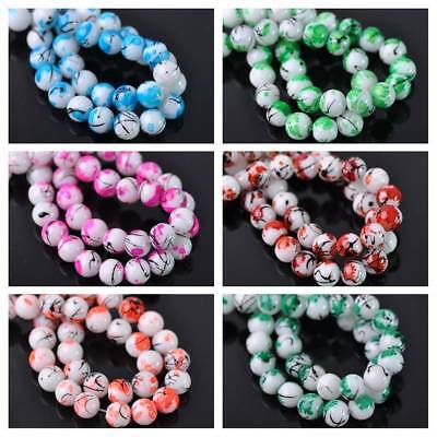 30pcs 6mm Round Spots Coated Opaque Glass Loose Spacer Beads Jewelry Findings
