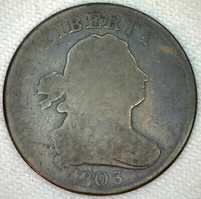 1803 Draped Bust Copper Half Cent United States Type Coin AG 1/2 Cent K17