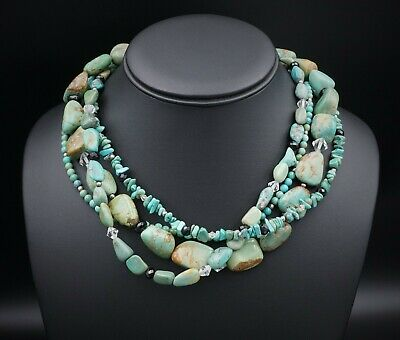 """Silpada Sterling Silver 4-Strand Turquoise Obsidian Necklace 16-18"""" N1299 NS1506"""