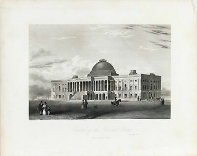 Washington DC Capitol Building Antique Architecture Print 1856