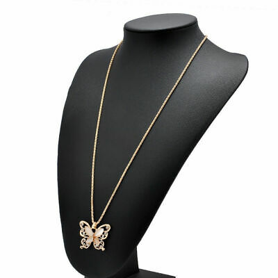 Hot Style Women Rose Gold Butterfly Charm Pendant Long Chain Necklace Jewelry