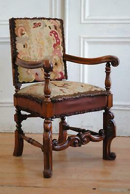 Antique English Golden Oak William & Mary  Style Armchair Petit Point Embroidery