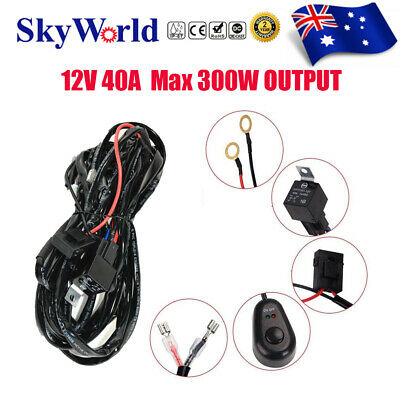 40A 12V Plug & Play High Beam Driving Light Wiring Harness Kit LED Bar Wire Loom