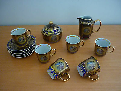 Vintage Mz Moritz Zdekauer Czech 6 Cups & Saucers, Sugar Bowl & Milk Jug Set