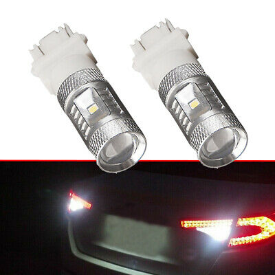 2pcs White 3157 80W LED Tail Brake Stop Backup Reverse Lights Bulbs Accessories