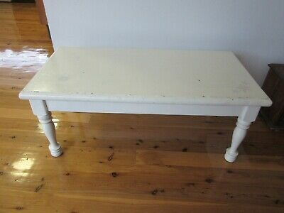 Wooden Coffee Table Painted White Vintage Turned Legs Country Farmhouse Style