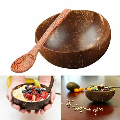 Eco-friendly Natural 100% Coconut Shell Bowl Spoon Salad Fruit Dessert Tableware