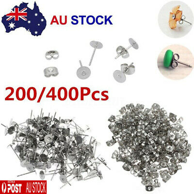200/400PCS Earring Stud Posts Pads + Nut Backs Silvery Surgical Steel DIY Craft