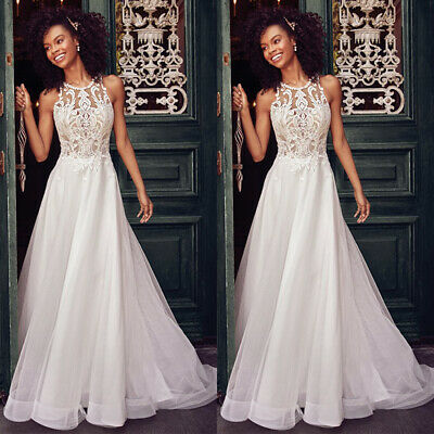 Tulle Lace Women Wedding Dresses Sleeveless Halterneck Bridal Evening Prom Gowns