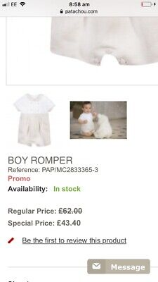 Baby boys Patachou Beige And Ivory Linen Romper In 12 Months.