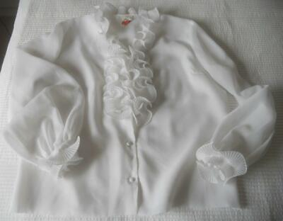 """Vintage 1960'S Contessa White Polyester Long Sleeve Blouse Frill Front 18 40"""""""