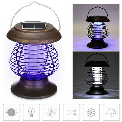 New Solar Powered Outdoor Mosquito Fly Bug Insect Zapper Killer Trap Lamp Light