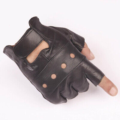1Pair Men Black Punk Gothic Fingerless Gloves Leather Driving Biker For Men