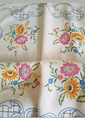 Vintage HAND EMBROIDERED SPRING FLOWERS W FILET CROCHET BORDER Tablecloth