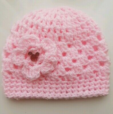 Baby Pink Sparkle Shimmer Crochet Hat with a lovely Minnie  0/3 months