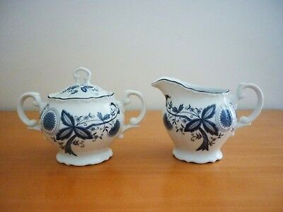 Viners Blue & White Creamer/Milk Jug And Handled Sugar Bowl With Lid Set Japan