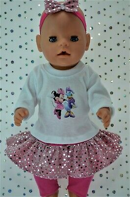 "PlaynWear Dolls Clothes To Fit 17"" Baby Born SEQUIN SKIRT~LEGGINGS~TOP~HEADBAND"
