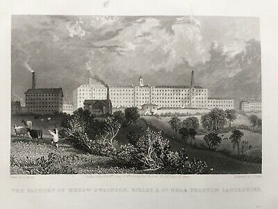 1836 Antique Print: Fishwick Mill, Preston, Lancashire after Thomas Allom