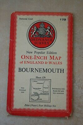 Vintage Ordnance Survey Map of Bournemouth, dated 1947