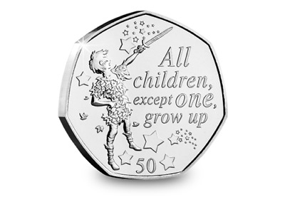 PETER PAN 50p COIN PETER PAN STOOD 90th ANNIVERSARY NEW 2019 IN HAND READY TO GO