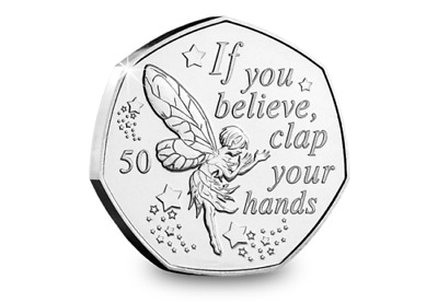 PETER PAN 50p COIN TINKERBELL 90th ANNIVERSARY NEW RELEASE 2019 UNCIRCULATED