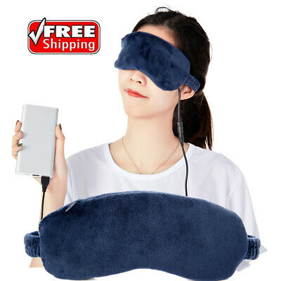 LZ Heated Eye Mask Warming Temperature Electric Massage for Dry Tired Puffy Blue