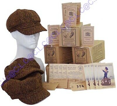 BOYS 1940/'s Memorabilia Cap-Gas Mask Box-Suitcase-Ration Book-ID Card-Postcard