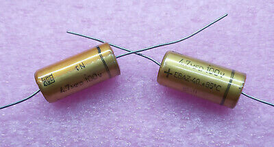 2 PCS. ROE (Roederstein) high end audio axial electrolytic capacitor 4.7uf/100V