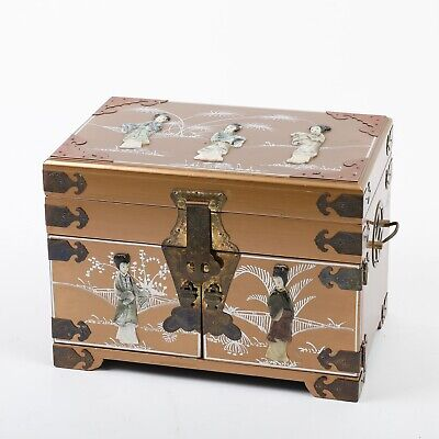"""Vintage Chinese Jewelry Box Gold Painted Wood Chest 14"""" Asian Carved Shell"""